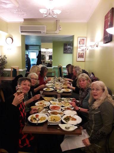Viva enjoying a meal at the Masala, April